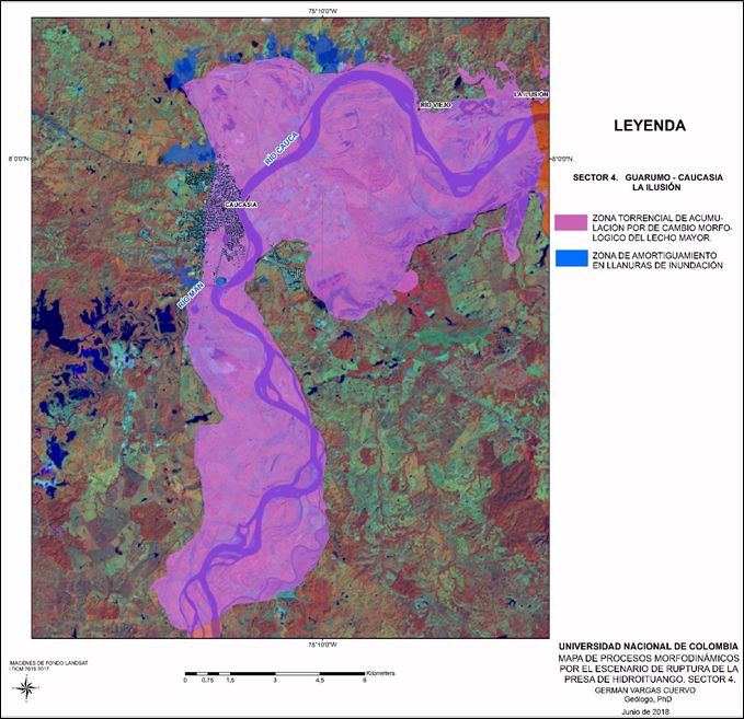 Cauca River Map on